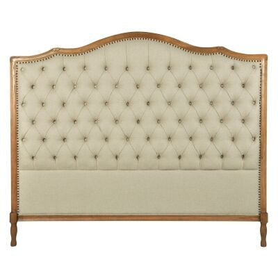 Pallas Tufted Linen Fabric Bed Headboard, King