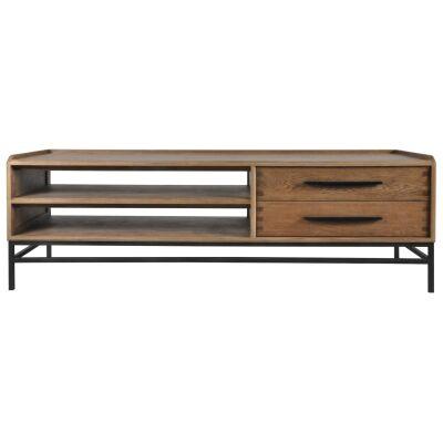 Reverie Oak Timber & Iron 2 Drawer TV Unit, 180cm