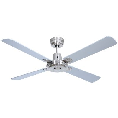 """Swift Timber Ceiling Fan, 120cm/48"""", Brushed Chrome"""