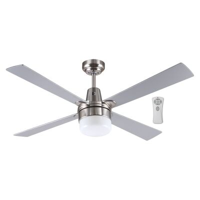 """Kimberley II Ceiling Fan with Light & Remote, 120cm/48"""", Brushed Chrome"""
