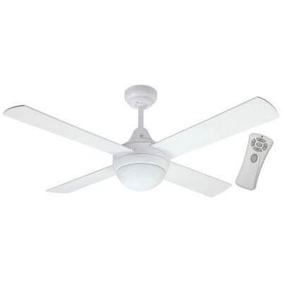 "Glendale Celing Fan with Light & Remote, 120cm/48"", White"