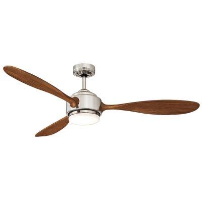"Duxton AC Ceiling Fan with LED Light, 130cm/52"", Brushed Chrome"