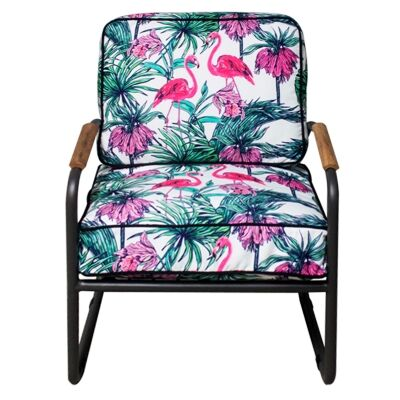 Canape Commercial Grade Metal & Fabric Armchair, Hibiscus Flamingo, Gunmetal Frame