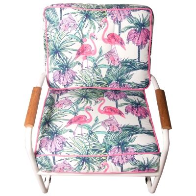 Canape Commercial Grade Metal & Fabric Armchair, Hibiscus Flamingo, White Frame