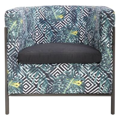 Canape Fabric & Iron Club Armchair, Geometry Palm