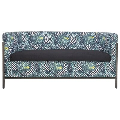 Canape Fabric & Iron Club Lounge, 2 Seater, Geometry Palm