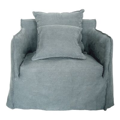 Casper Linen Slipcovered Armchair, Grey