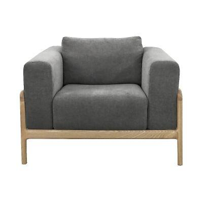 Gustav Fabric Armchair, Dark Grey