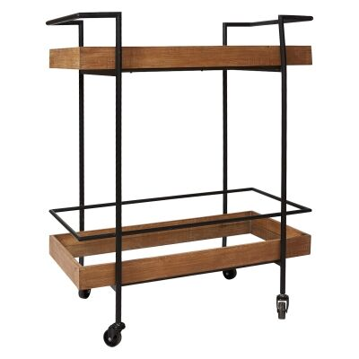 Benin Wood & Metal Kitchen Trolley Cart with Mirror Top