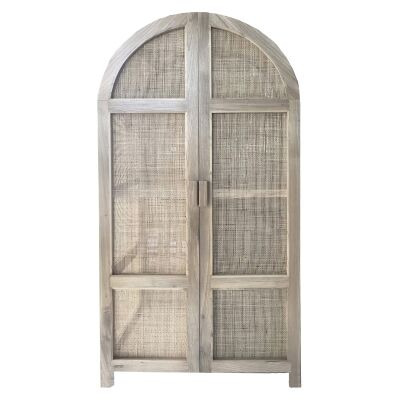 Grace Solid Sungkai Wood & Rattan Cabinet, Natural