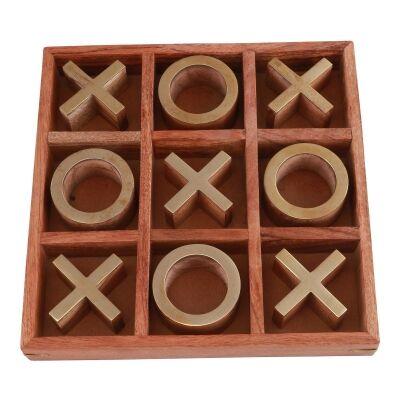 Hiba Mango Wood Noughts & Crosses Game, Brass / Brown