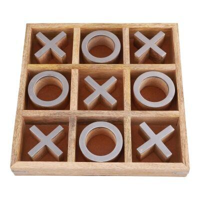 Hiba Mango Wood Noughts & Crosses Game, Nickel / Natural