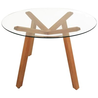Finland Glass Topped Beech Timber Round Dining Table, 120cm