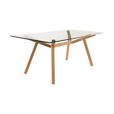 Finland Glass Topped Beech Timber Dining Table, 180cm