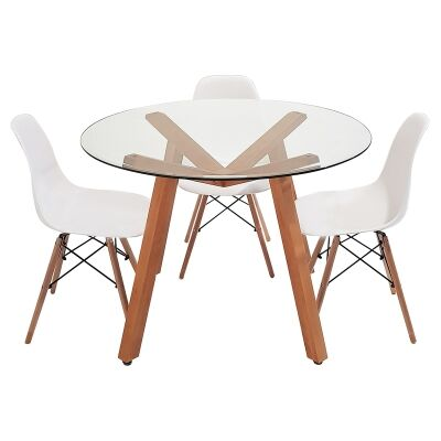 Finland 5 Piece Glass Topped Beech Timber Round Dining Table Set, 110cm, with White Paris Chair