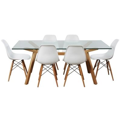 Finland 7 Piece Glass Topped Beech Timber Dining Table Set, 180cm, with White Paris Chair