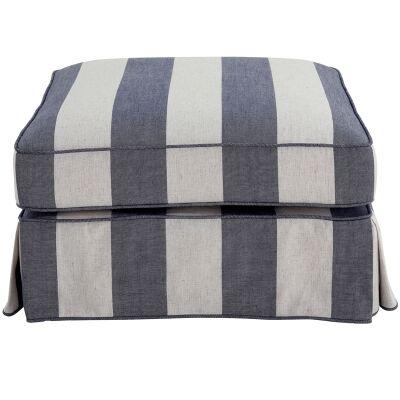 Noosa Fabric Ottoman Slipcover (Cover Only), Denim / Cream Stripe