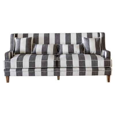 Kimberley Striped Fabric Sofa, 3 Seater, Charcoal / Cream