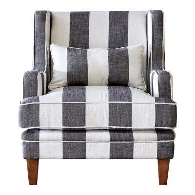 Kimberley Striped Fabric Armchair, Charcoal / Cream