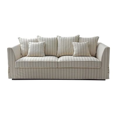 Vionia Striped Fabric Sofa, 3 Seater, Beige / Cream