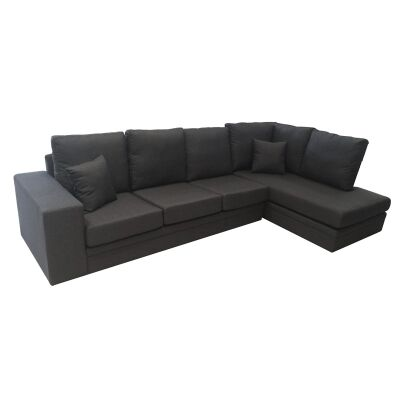 Flint Fabric 3 Seater Sofa Lounge with Right Arm Facing Chaise - Graphite