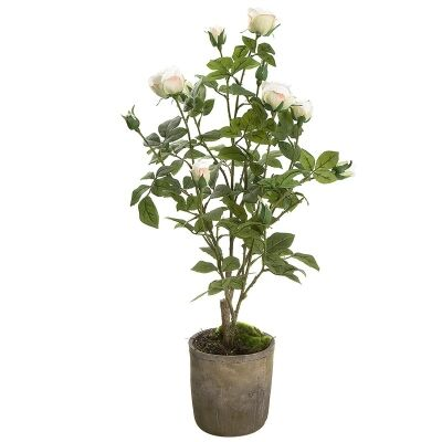Artificial Rose in Terracotta Pot, White