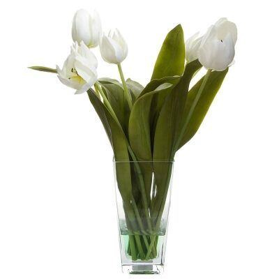 Artificial Tulips in Glass Vase, White