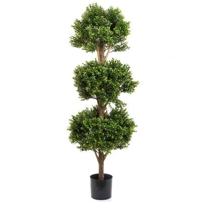 Artifcial Boxwood Triple Ball Tree in Pot