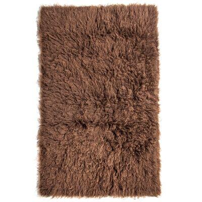 Flokati Greek Made Shaggy Wool Rug, 170x110cm, Cocoa