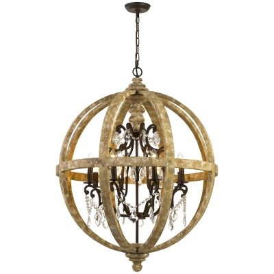 Florin Wood & Iron Chandelier / Pendant Light, Large