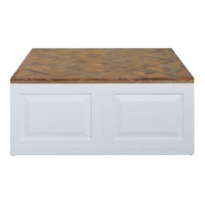 Malvina Parquet Timber Top Square Coffee Table, 100cm
