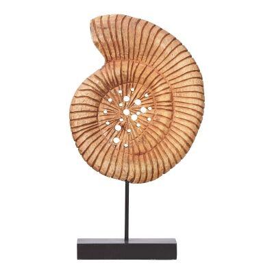 Neptune Chiselled Mango Wood Seashell Decor