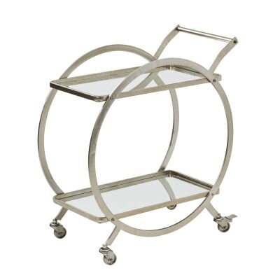 Walter Metal Drinks Trolley, Antique Silver