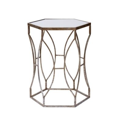 Massima Mirror Topped Metal Side Table