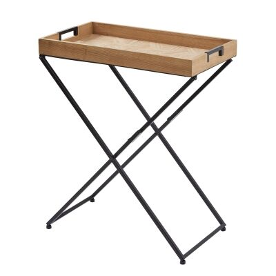 Boston Wooden Tray Topped Metal Side Table