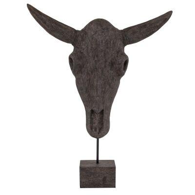 Sidrah Mango Wood Bull Skull Sculpture