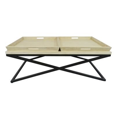 Montte Elm Timber & Metal Tray Top Coffee Table, 125cm