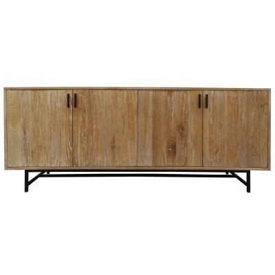 Rhonda Oak Timber 4 Door Buffet Table, 200cm