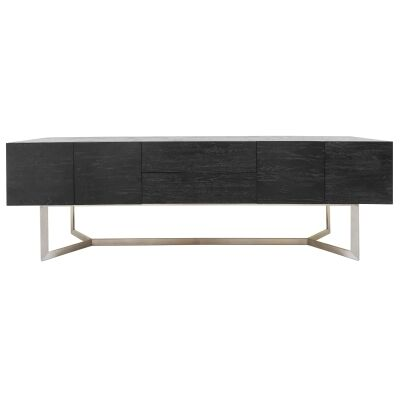 Chantelle Oak Timber & Stainless Steel 4 Door 2 Drawer Buffet Table, 200cm