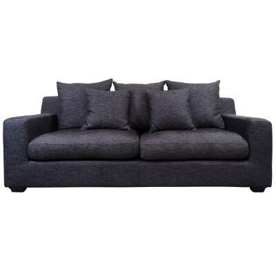 Cynthia Fabric Sofa, 3 Seater, Dark Grey