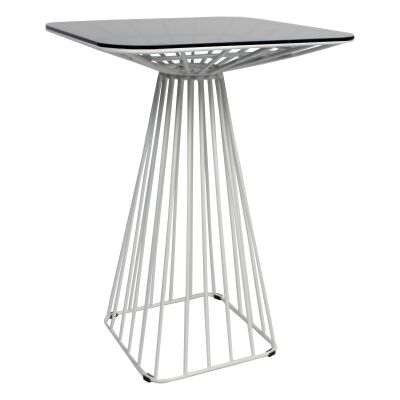 Dry Steel Cage Frame Square Bar Table with Glass Top, 75cm, White