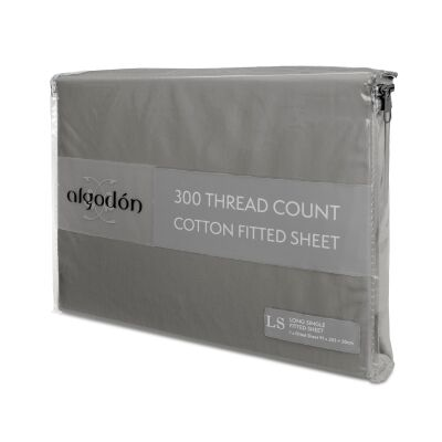 Algodon 300TC Cotton Fitted Sheet, Long Single, Charcoal