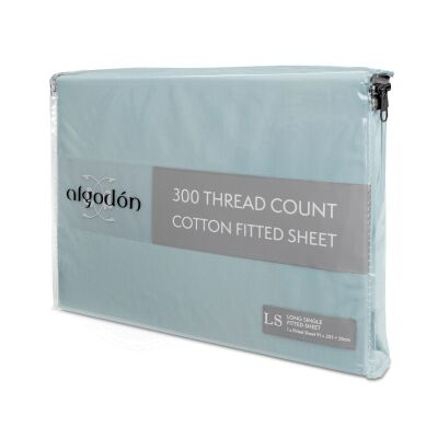 Algodon 300TC Cotton Fitted Sheet, Long Single, Denim