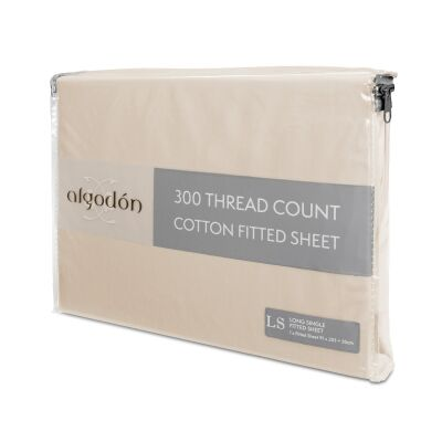 Algodon 300TC Cotton Fitted Sheet, Long Single, Stone