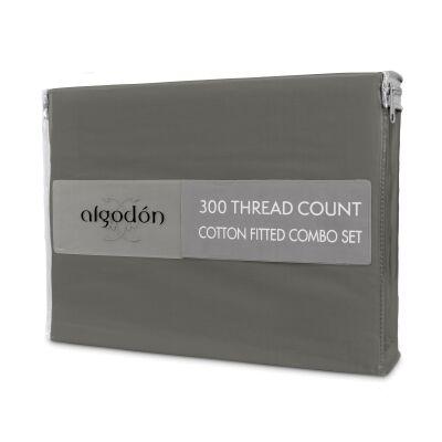 Algodon 300TC Cotton Fitted Sheet Combo Set, King Single, Charcoal