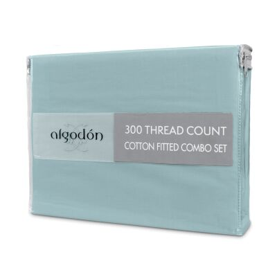 Algodon 300TC Cotton Fitted Sheet Combo Set, King Single, Denim