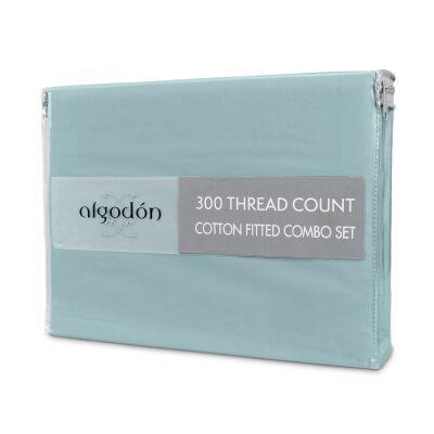 Algodon 300TC Cotton Fitted Sheet Combo Set, Mega King, Denim