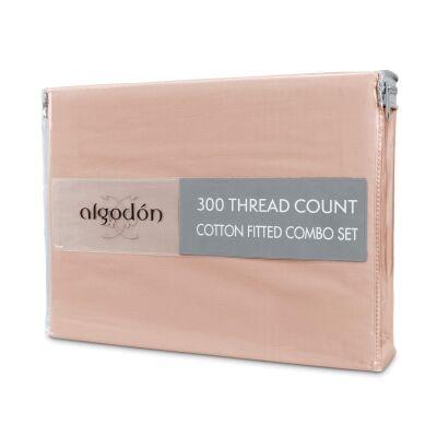 Algodon 300TC Cotton Fitted Sheet Combo Set, King Single, Pink