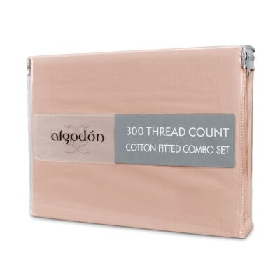 Algodon 300TC Cotton Fitted Sheet Combo Set, Mega Queen, Pink