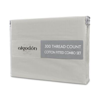 Algodon 300TC Cotton Fitted Sheet Combo Set, Mega King, Silver
